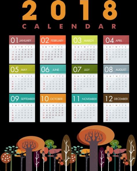 adobe illustrator calendar template 2018 free 2018 calendar template multicolored tree icons decor free