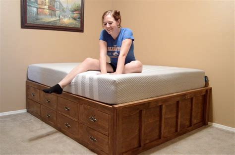 queen size bed with drawers make a queen size bed with drawer storage youtube