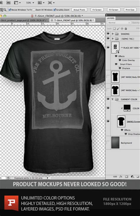 ghosted t shirt design template psd with bonus v neck t