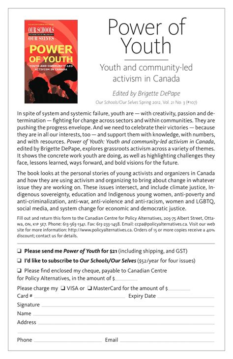 Youth Activism Essay by Power Of Youth Edited By Brigette Depape 187 Praxis Theatre