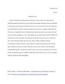 Persuasive Essay On No Homework by Argument Essay