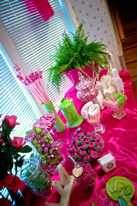 Candy Buffet My Daughter And Friends Set Up A Table Like Pink And Green Buffet
