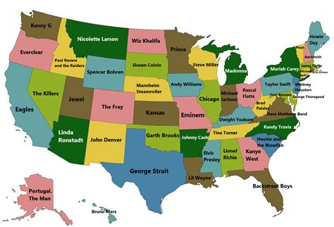 us map states song best selling artists from each us state maps