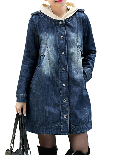 Denim Breasted Coat plus size denim single breasted jacket alexnld