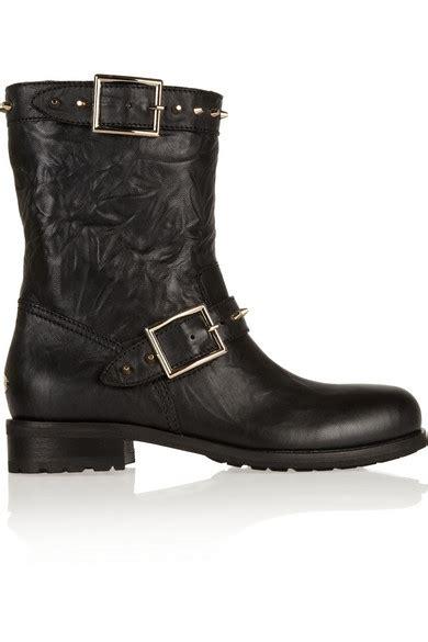 jimmy choo dash studded leather biker boots net a