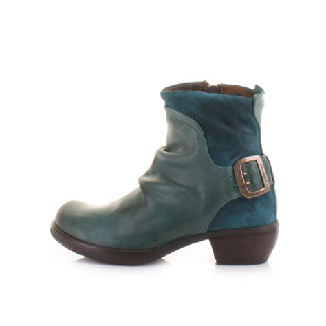 womens fly mel petrol leather suede distress