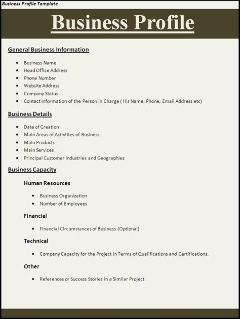 account profile template 11 best images about business on business plan