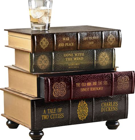 stacked books end table book stack design side end table with storage drawers ebay