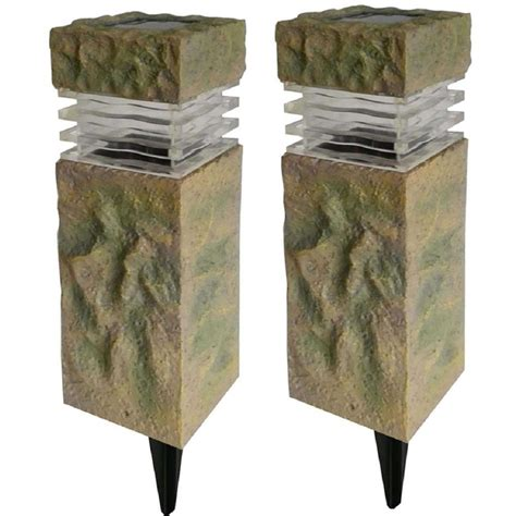 solar powered pillar lights hton bay solar powered rock outdoor pillar path light