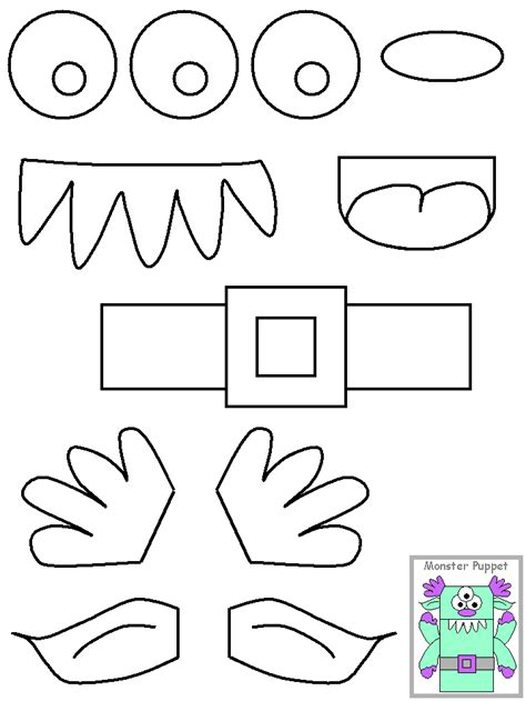 template monste puppets crafts for brown paper bags