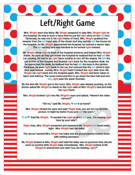 left right baby shower story printable shower left right instant