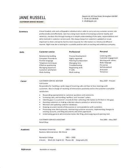 Resume Summary Exles For Customer Service Resume Summary Exle 8 Sles In Pdf Word