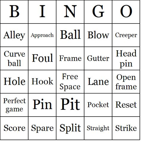 Bowling Bingo Card Template by Bowling Bingo Cards