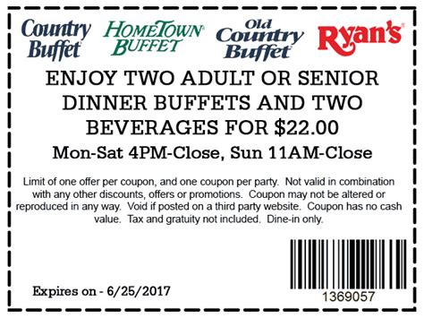 hometown buffet coupons 2 buffets drinks for 22 at
