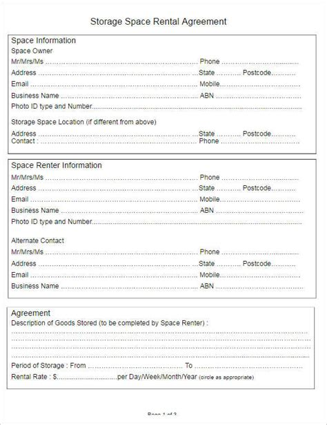 storage rental agreement template 282 rental lease agreement free pdf sle word formats