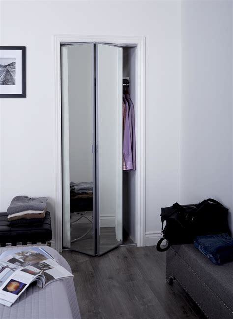 Beveled Mirror Sliding Closet Door Sliding Bifold Door With 1 Quot Beveled Edge Mirror Slimline Frame Renin
