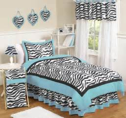 Blue zebra bedding twin comforter set for girls 4pc bed in a bag black