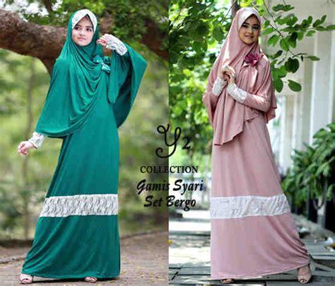 Gamis Muslim Anak Set Bergo gamis set bergo remaja p17 baju muslim modern syari