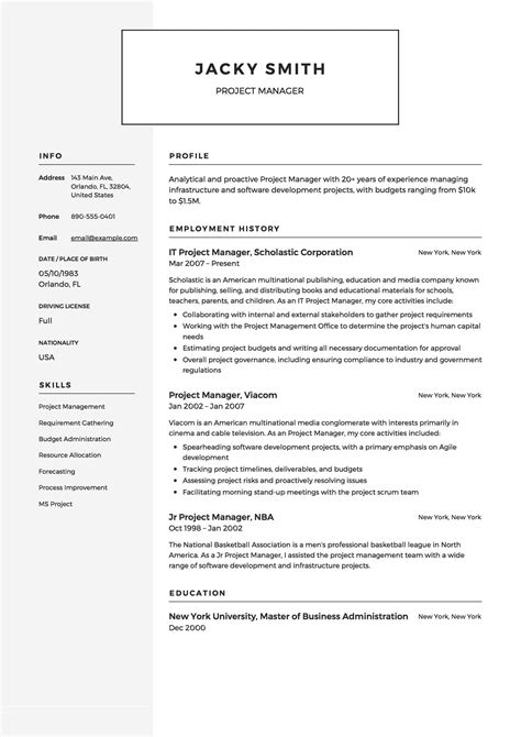 free infrastructure project manager resume template sample ms word