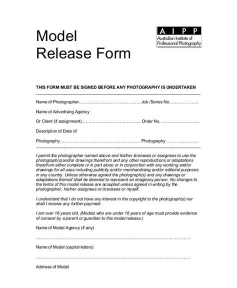 standard model release form template sle photography model release form 7 exles in