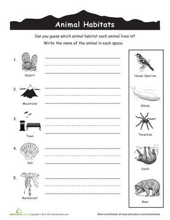 printable animal habitat activities animal habitats worksheets education com