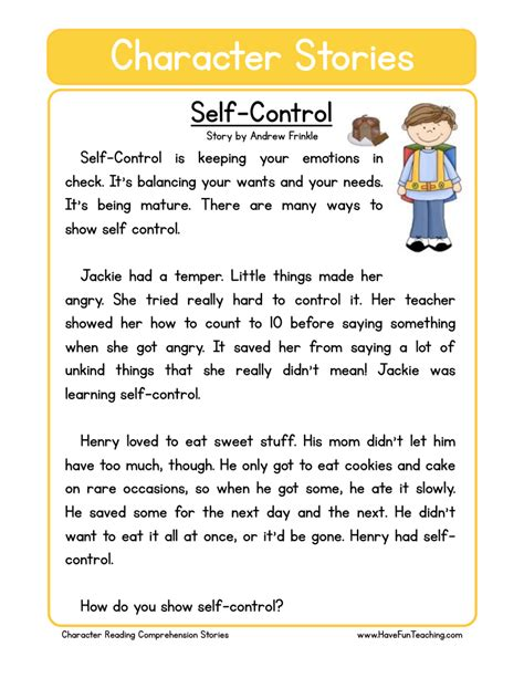 emotional themes in stories image gallery self control worksheets