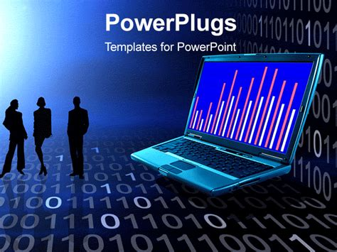 Powerpoint Template Three Business People With An Open Laptop And Lots Of Binary Numbers 4875 Gif Templates For Powerpoint