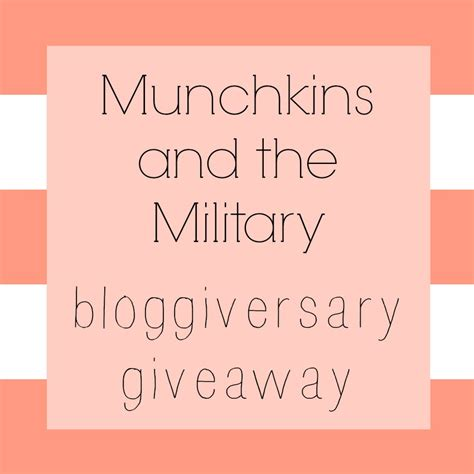 Army And You Giveaways - bloggiversary survey giveaway munchkins and the military
