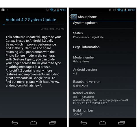 android 4 4 4 update android 4 2 update jop40c for gsm galaxy nexus available now gadgetian