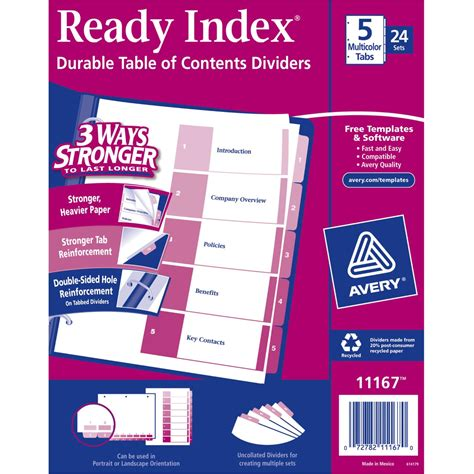 Avery Ready Index 5 Tab Template by Avery Ready Index Table Of Contents Dividers 5 Tab