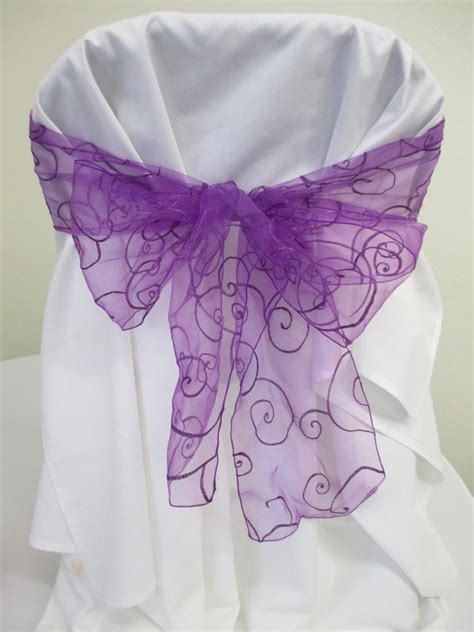 purple 100 embroidered organza chair sashes ceremony