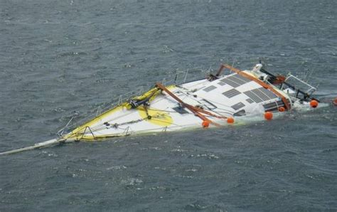 fishing boat runs over sailboat cheminees poujoulat a broken monohull and flipping