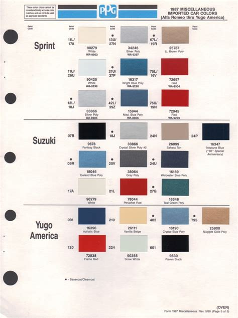 Suzuki Paint Colors Paint Chips 1987 Suzuki