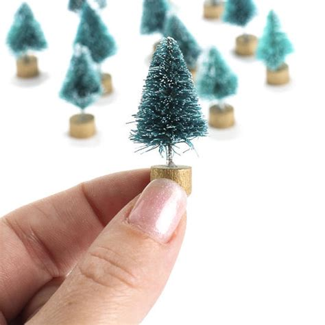 miniature frosted green bottle brush trees what s new