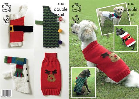 Knitting Pattern For Christmas Dog Coat | 4115 king cole dk christmas dog coat knitting pattern