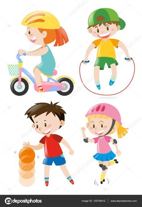 imagenes niños haciendo ejercicio fisico ni 241 os haciendo diferentes tipos de ejercicios vector de