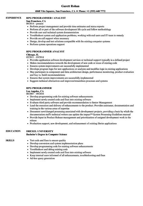 rpg programmer resume sles velvet jobs