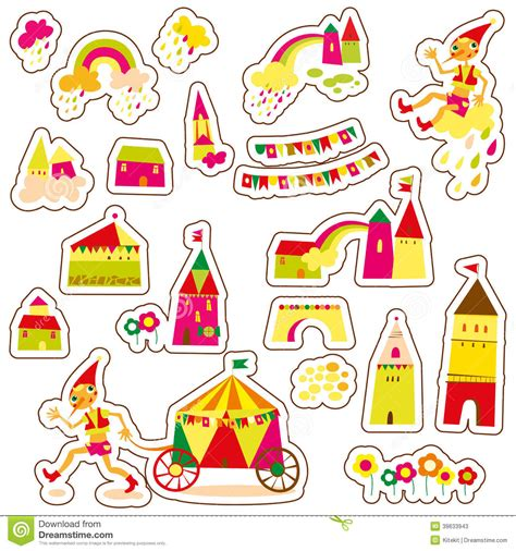 Clouds Wall Stickers cute cartoon buildings set of children s stickers stock