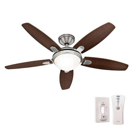 hugger 52 in brushed nickel ceiling fan hugger ceiling fan with light and remote winda 7 furniture