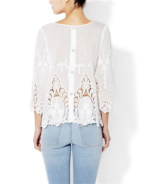 cynthia rowley white  cotton vita dolce embroidered eyelet blouse top medium ebay