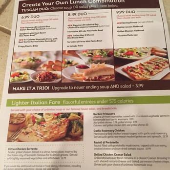 olive garden lunch menu on weekends