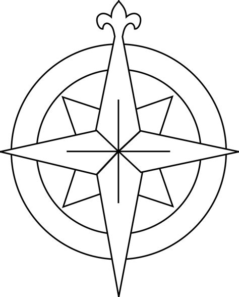 free coloring page compass rose line drawing compass clipart best