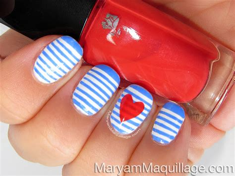 easy nail art stripes maryam maquillage sailor stripes nail art easy tutorial
