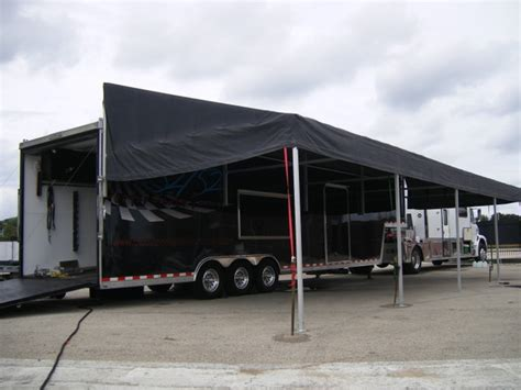 awnings for trailers race car trailer awnings new featherlite trailers