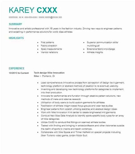 pattern maker responsibilities 4546 textile and apparel resume exles sles