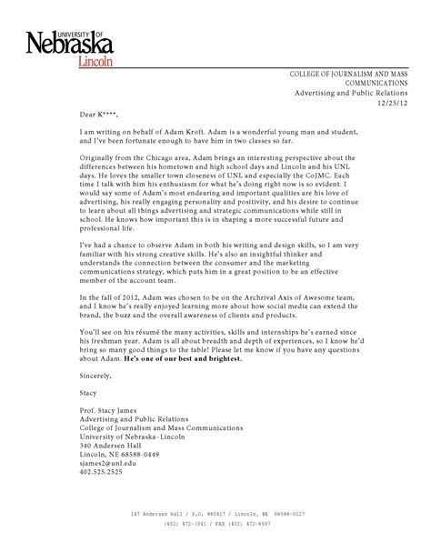 Recommendation Letter For Undergraduate Student From Professor Letter Of Recommendation For Professor Free Resumes Tips