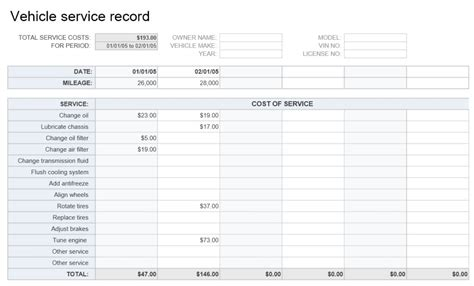 car service record template vehicle service record template excel templates excel