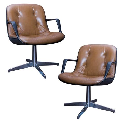 Steelcase Pollock Chair by Pair Of Charles Pollock Style Steelcase Brown Leather