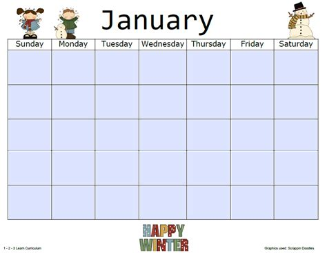 Preschool Monthly Calendar Template 1 2 3 learn curriculum february 2012