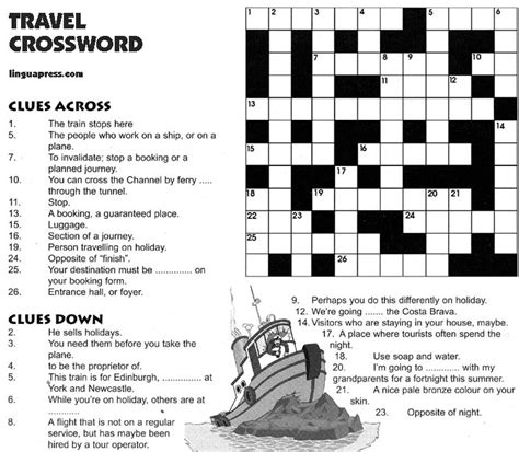 printable crossword puzzle for english learners travel crossword advanced level english